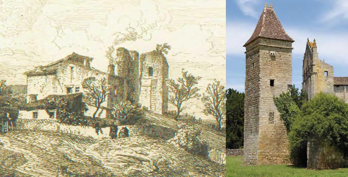 Château de Blazimont - L.Drouyn, eau-forte -1862 - Blasimon