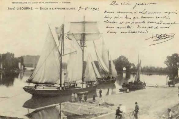 Brick à l'appareillage et gabarre, cartes postales anciennes, début XXe siècle- Libourne