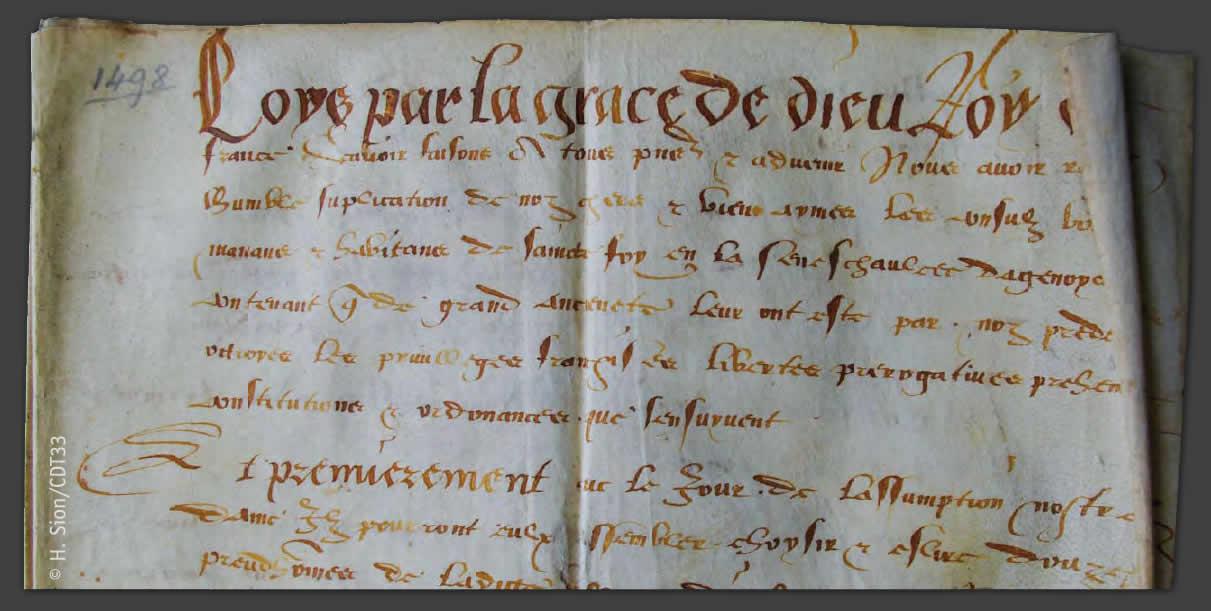 Charte de Louis XII -1498 Archives municipales de Sainte-Foy-la-Grande