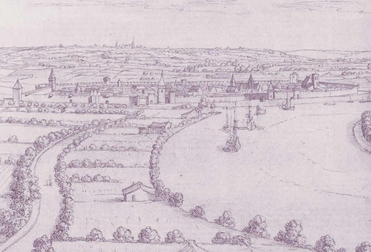Libourne, vue depuis le tertre de Fronsac, dessin à la plume d'Herman Van der Hem, vers 1640 © cliché Bibliothèque nationale de France