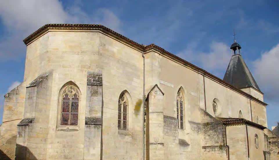 Vue du chevet et de la nef, église de Créon