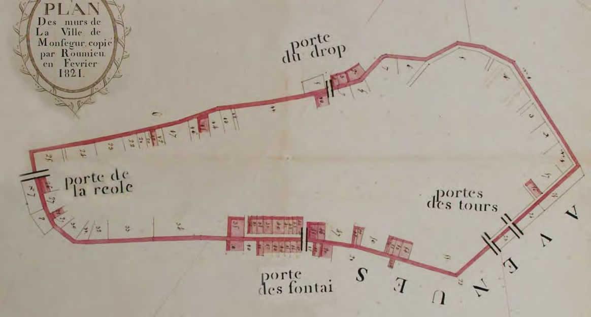 Plan des murs de la ville-1821 Archives communales - Monségur