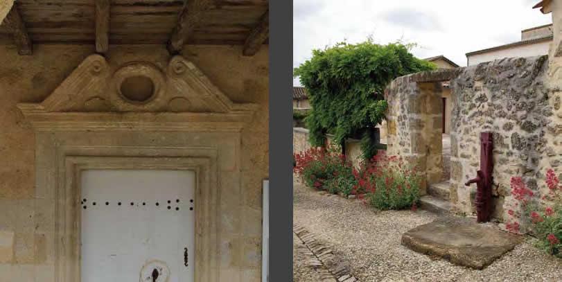 A gauche : porte sous les couverts (XVIIe siècle) | A droite : fontaine du XIXe siècle – Blasimon