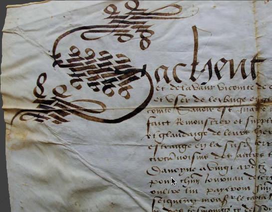 Charte du XVe siècle, Archives municipales - Cadillac