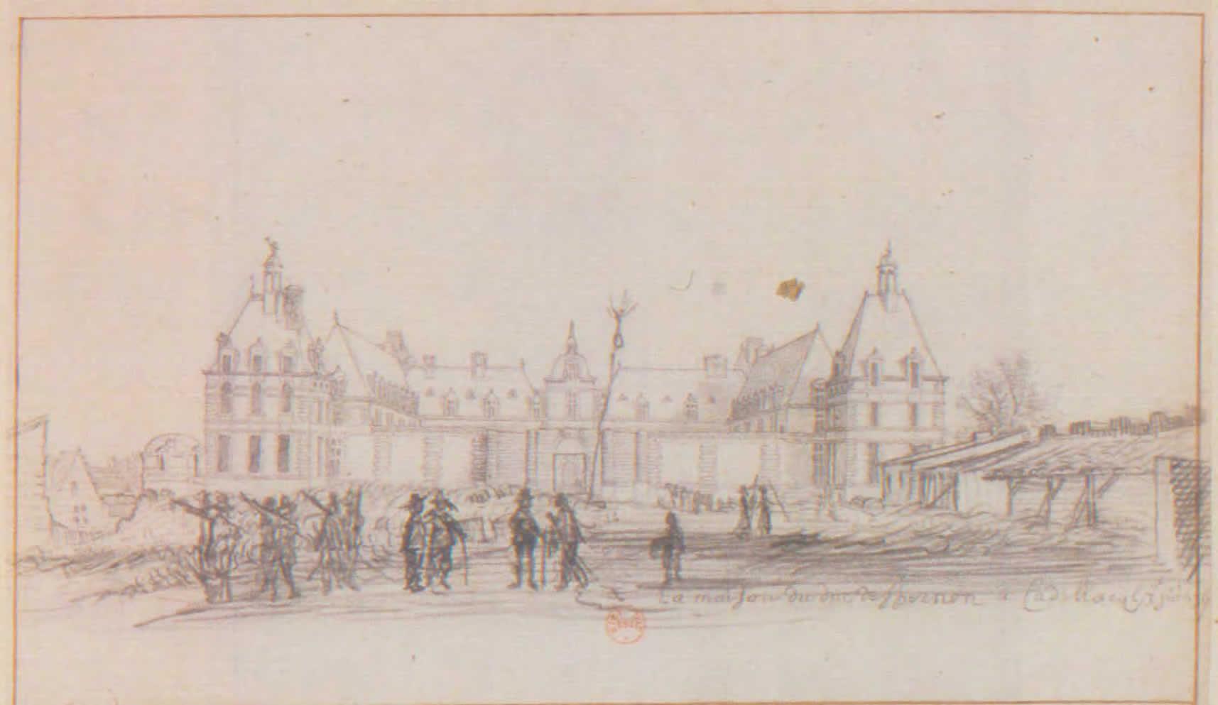 Le Château, dessin de H. Van der Hem -1639 © cliché Bibliothèque Nationale de France