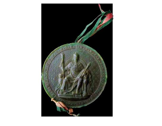 Sceau de cire, lettre patente de Louis XVIII, 1816 Archives municipales - Cadillac