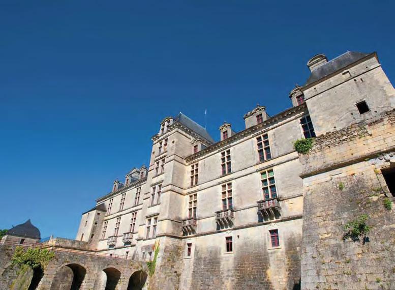 Le château, façade côté jardin - Cadillac